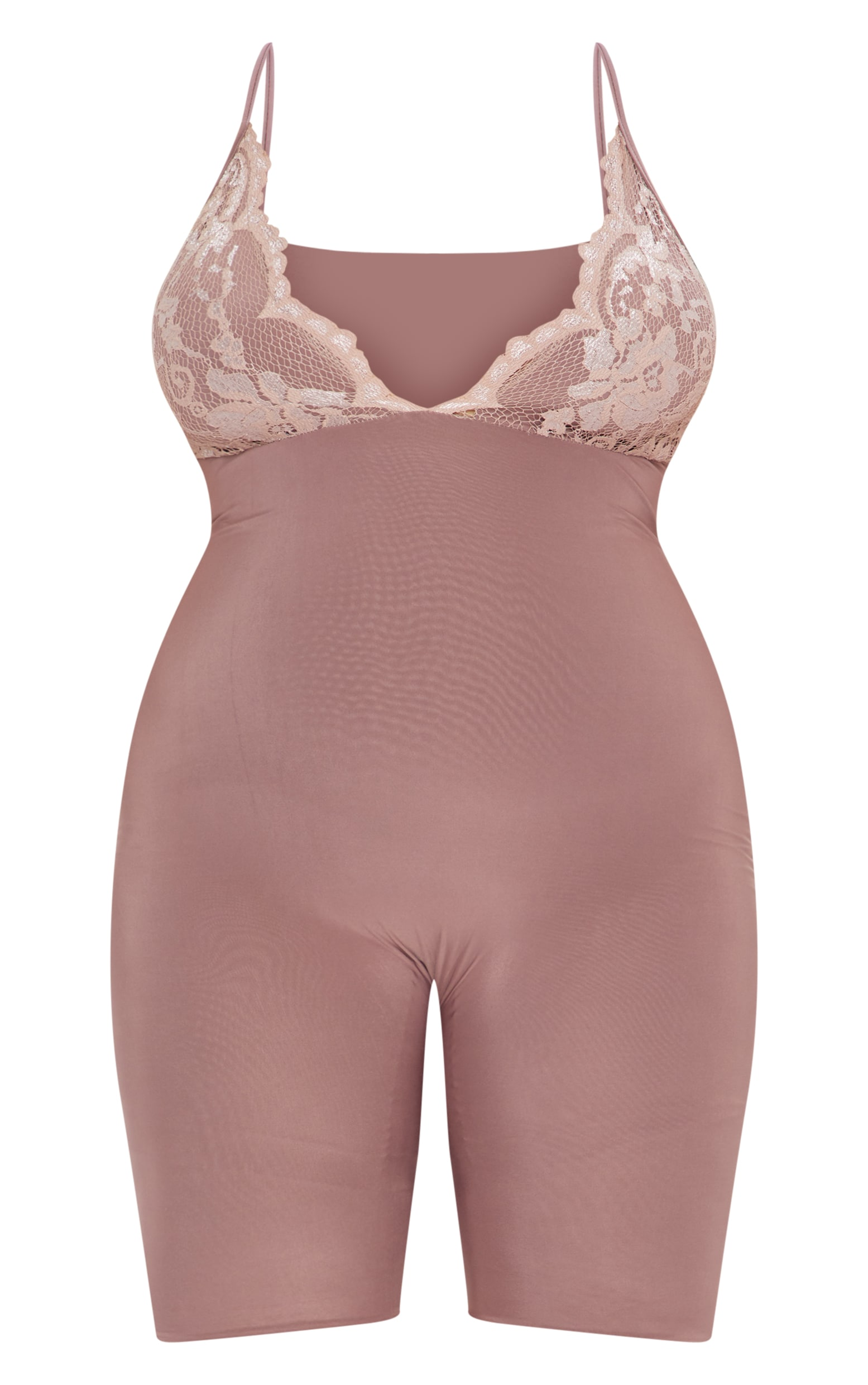 Plus Mauve Second Skin  Lace Trim Unitard 3