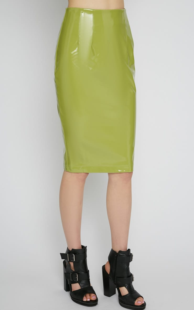 Kortney Green High Shine PVC Midi Skirt 4