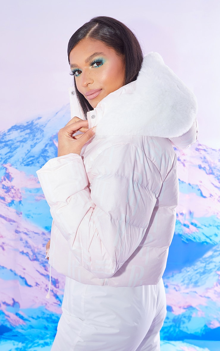 PRETTYLITTLETHING Ski Pastel Pink Faux Fur Hooded Puffer Coat 2