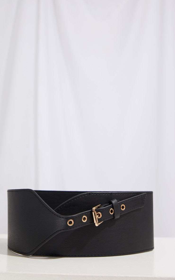 Black PU Chunky Waist Belt 2