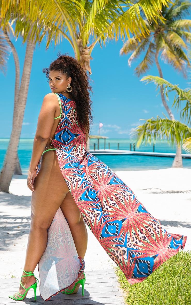 Plus Multi Mixed Jungle Print Ring Detail Maxi Dress 1