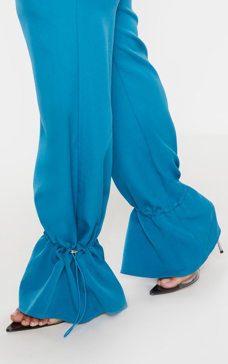 PLT Plus - Pantalon droit en maille tissée bleu sarcelle à bas resserré 5