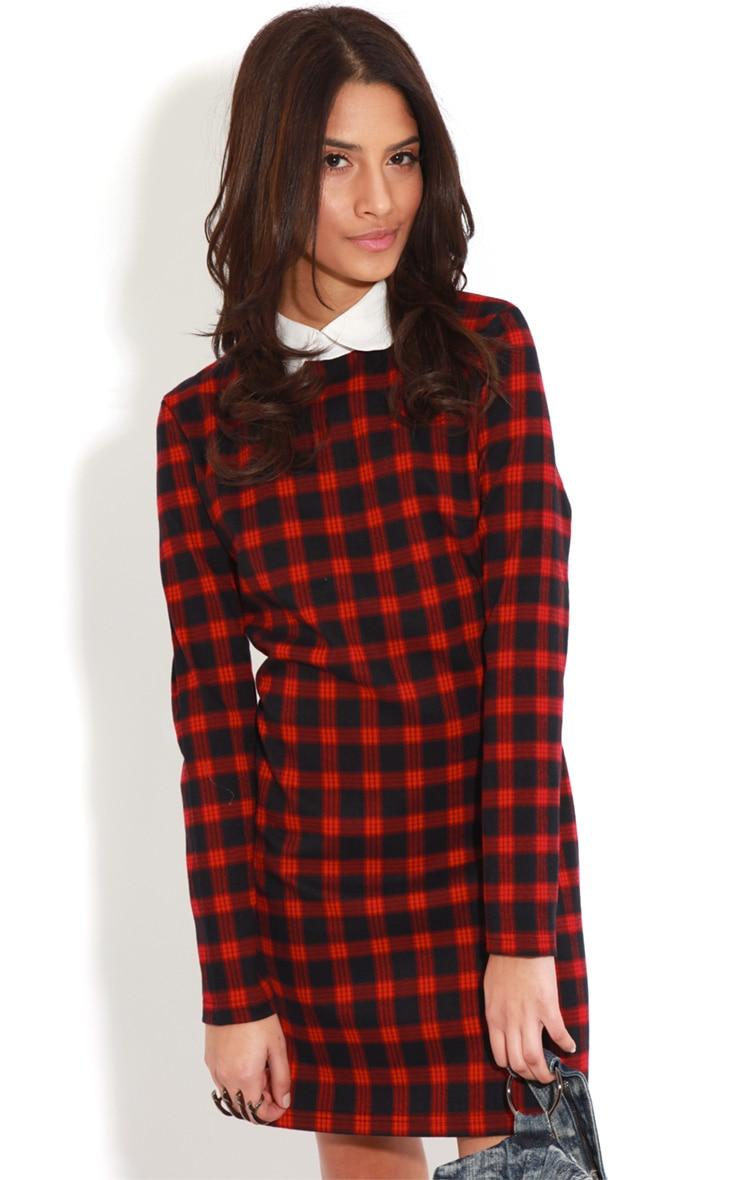 Angelina Long Sleeved Tartan Collar Dress 4