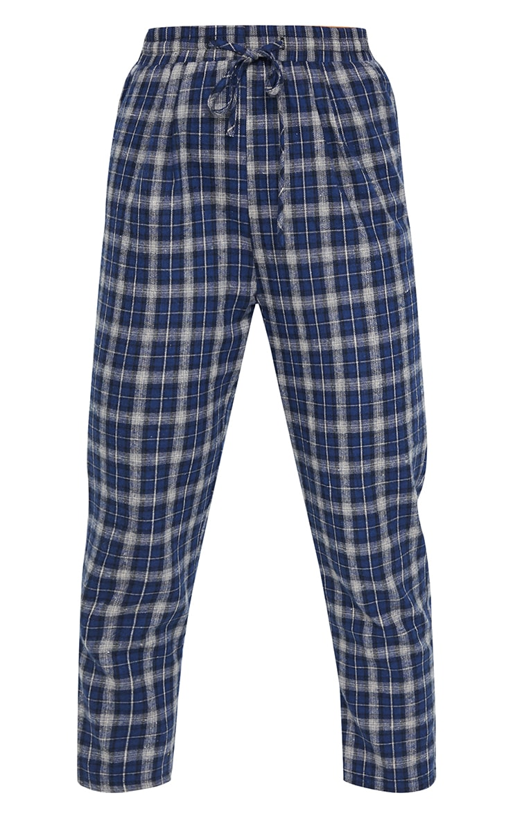 Navy Check Diya Casual Cigarette Pants 5