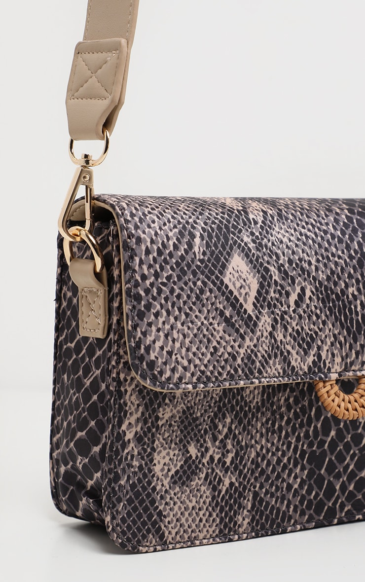 Natural Snake Print Nude Strap Cross Body Bag 4