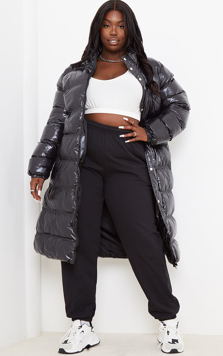 Plus Black Maxi High Shine Fitted Puffer 1