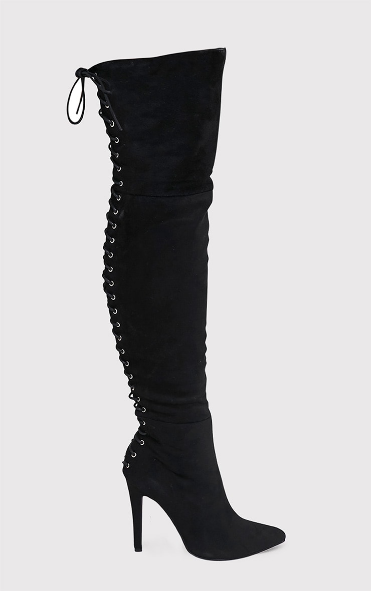 8c877fca631a2 Carlie Black Lace Up Back Over The Knee Heeled Boots - Boots ...