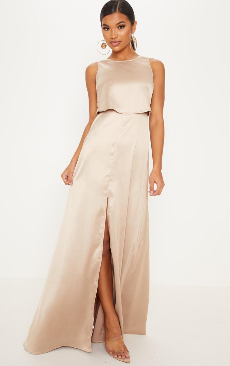 Champagne Bonded Slinky Overlay Split Front Maxi Dress 1