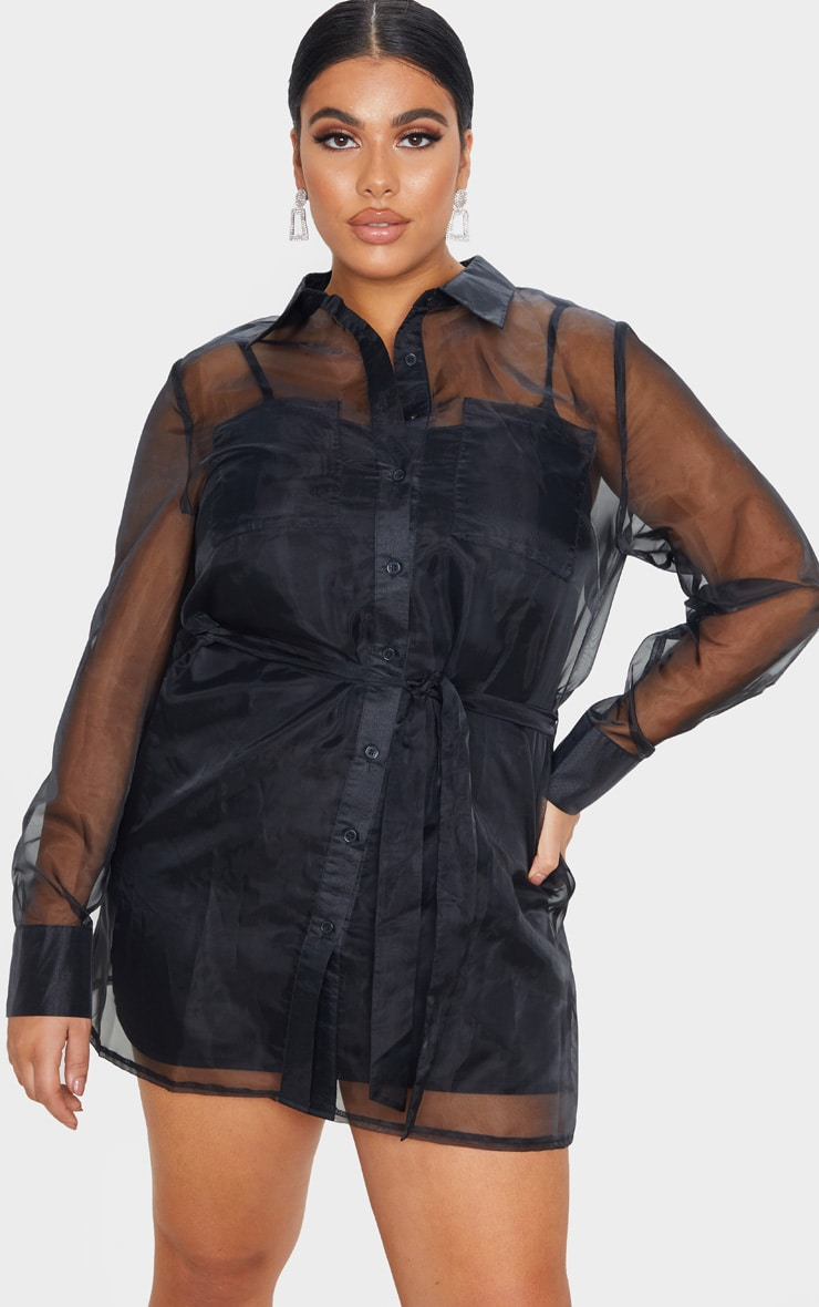 Plus Black Organza Tie Waist Sheer Shirt 1