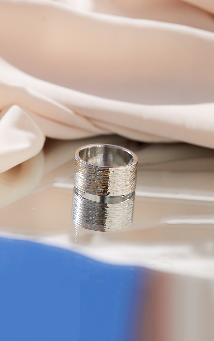 Silver Textured Rib Ring 2