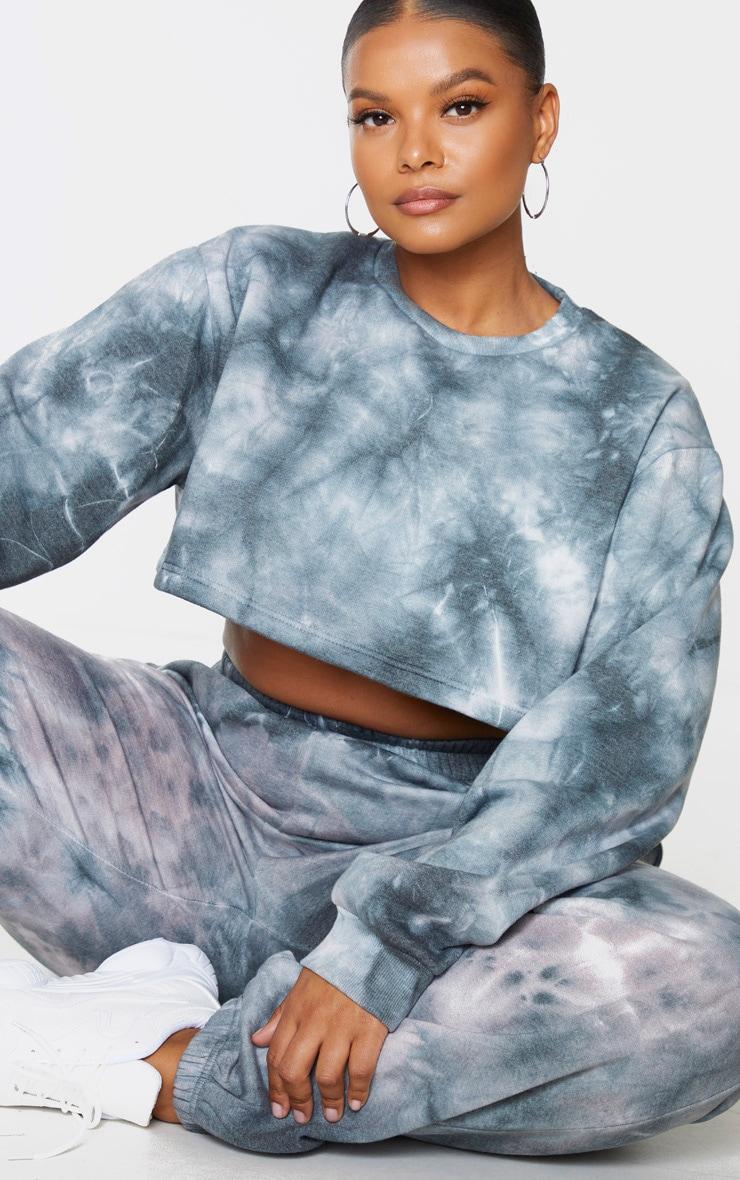 Plus Black Tie Dye Extreme Cropped Sweater 1