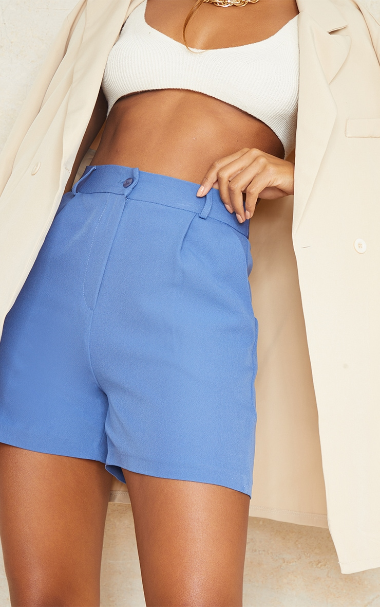 Dusty Blue Woven Tailored Runner Shorts 5
