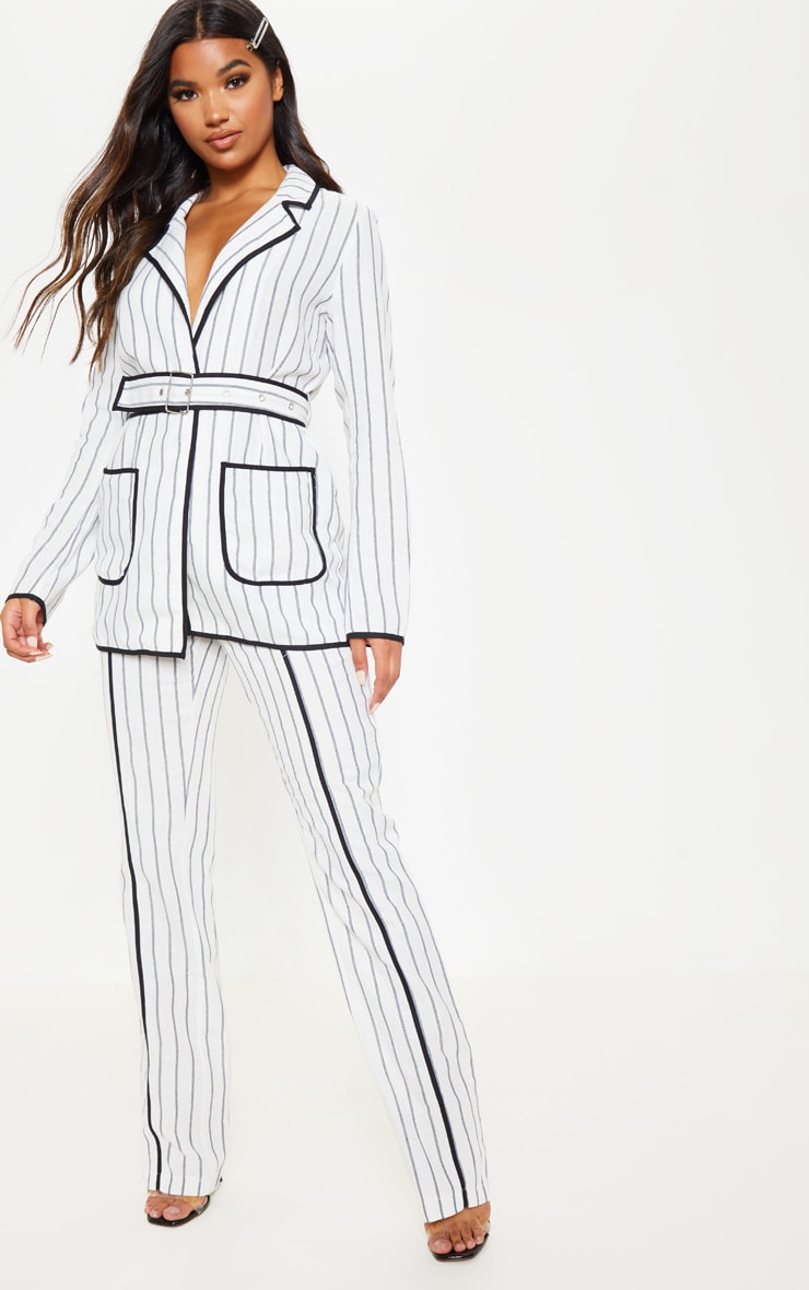 White Striped Linen Woven Blazer 4