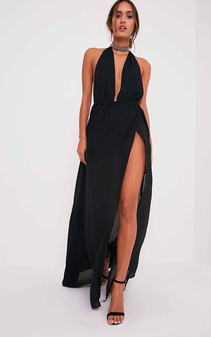 Alina Black Plunge Maxi Dress 5