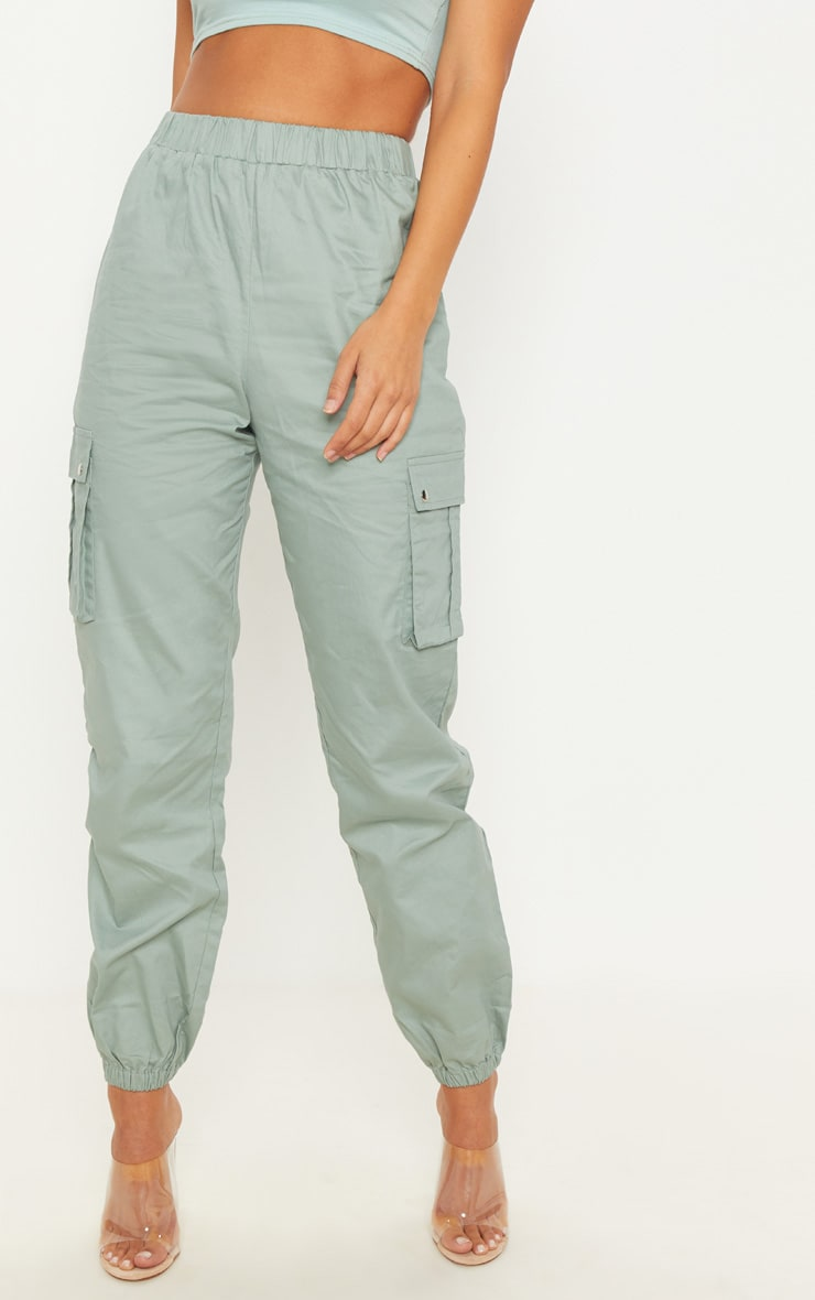 Sage Green Pocket Detail Cargo Trousers 3