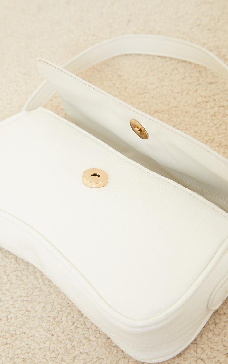White Croc Gold Buckle Detail Shoulder Bag 3