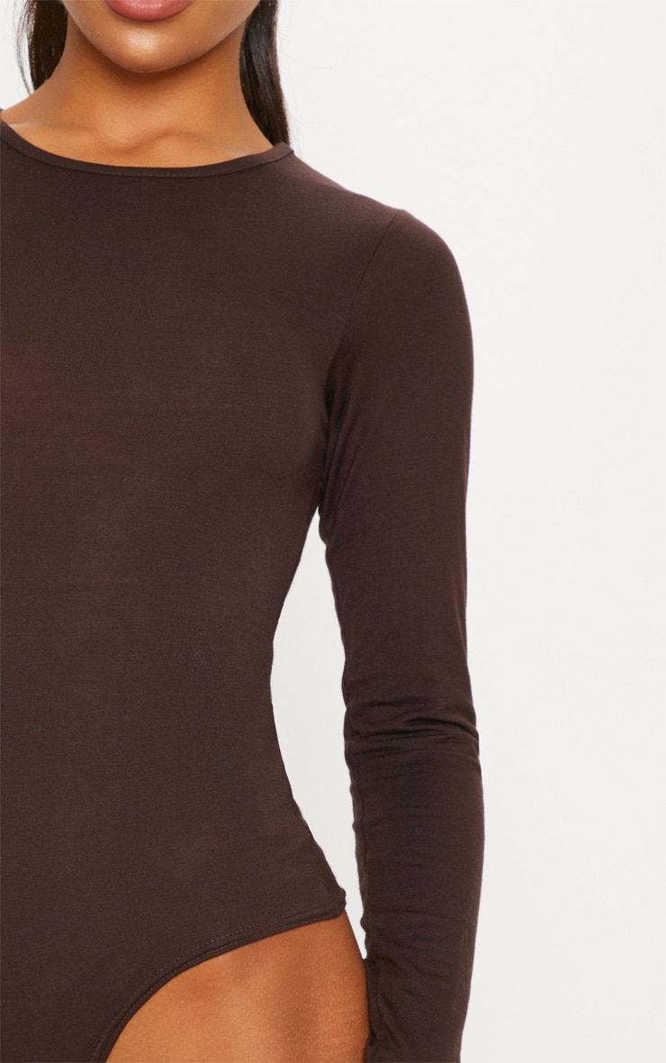 Basic Chocolate Crew Neck Long Sleeve Bodysuit 7