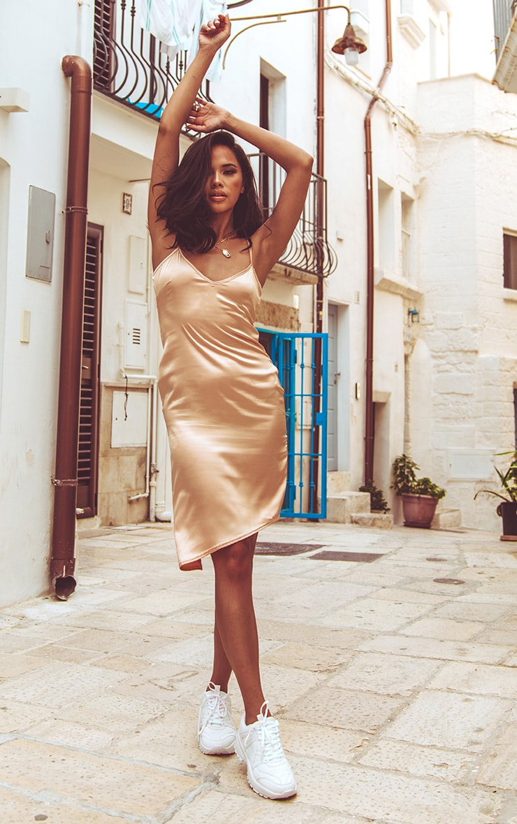 Champagne Satin V Neck Midi Dress image 1