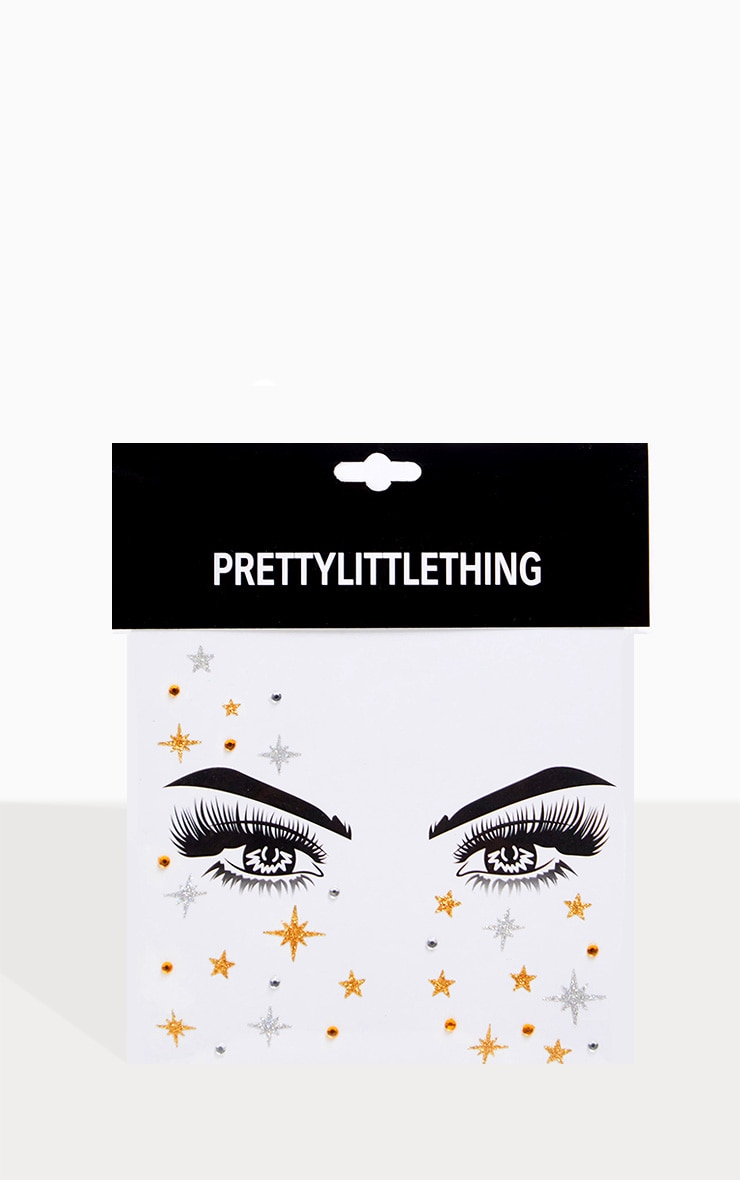 PRETTYLITTLETHING Gold Starry Eyes Face Jewels 2