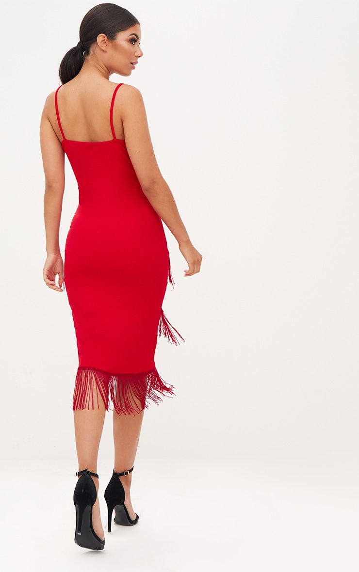 Red Strappy Tassel Longline Midi Dress 2