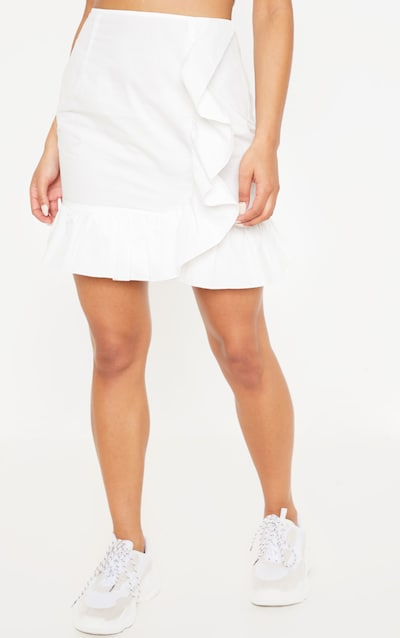 Cream Frill Detail Mini Skirt