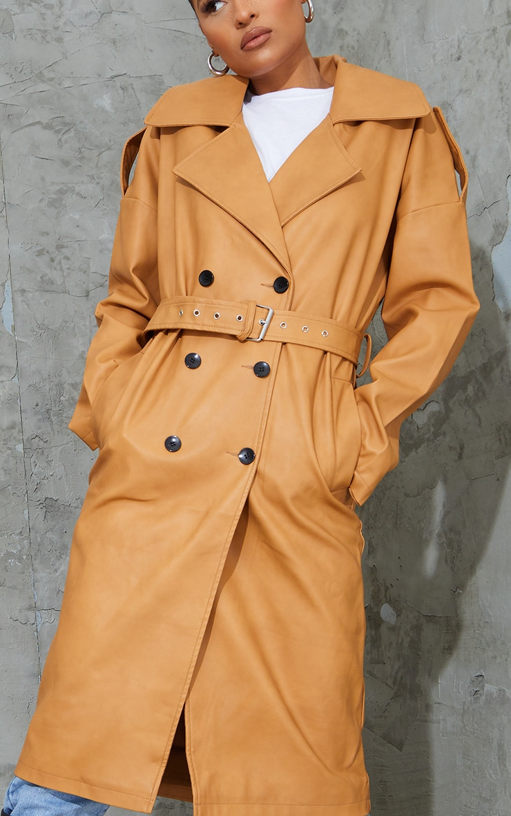 Camel Faux Leather Drop Arm Midi Trench 4