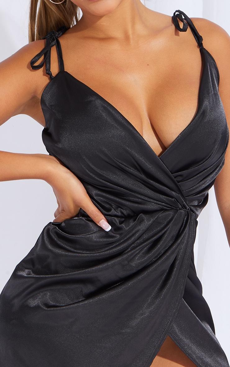 Shape Black Satin Tie Shoulder Wrap Bodycon Dress 4