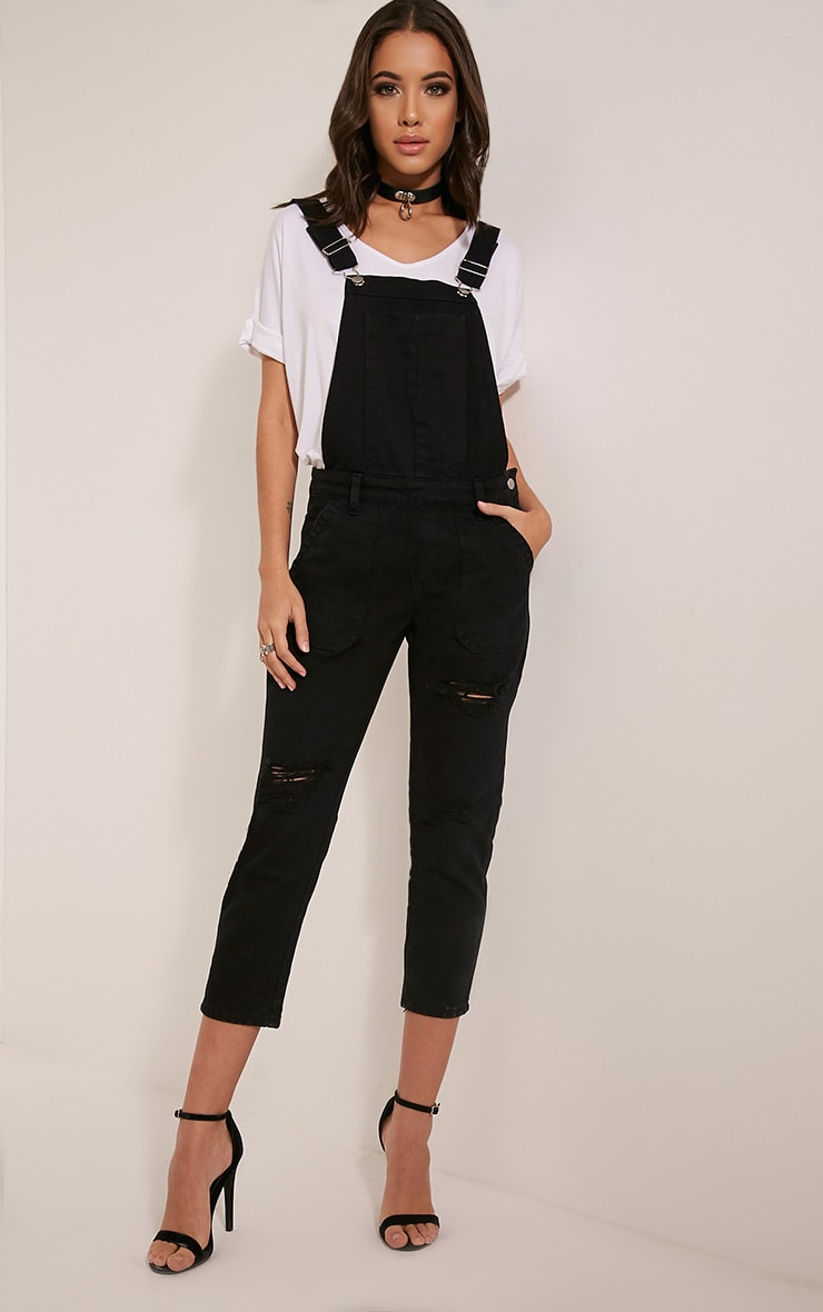 Carla Black Extreme Rip Cropped Denim Dungarees 5