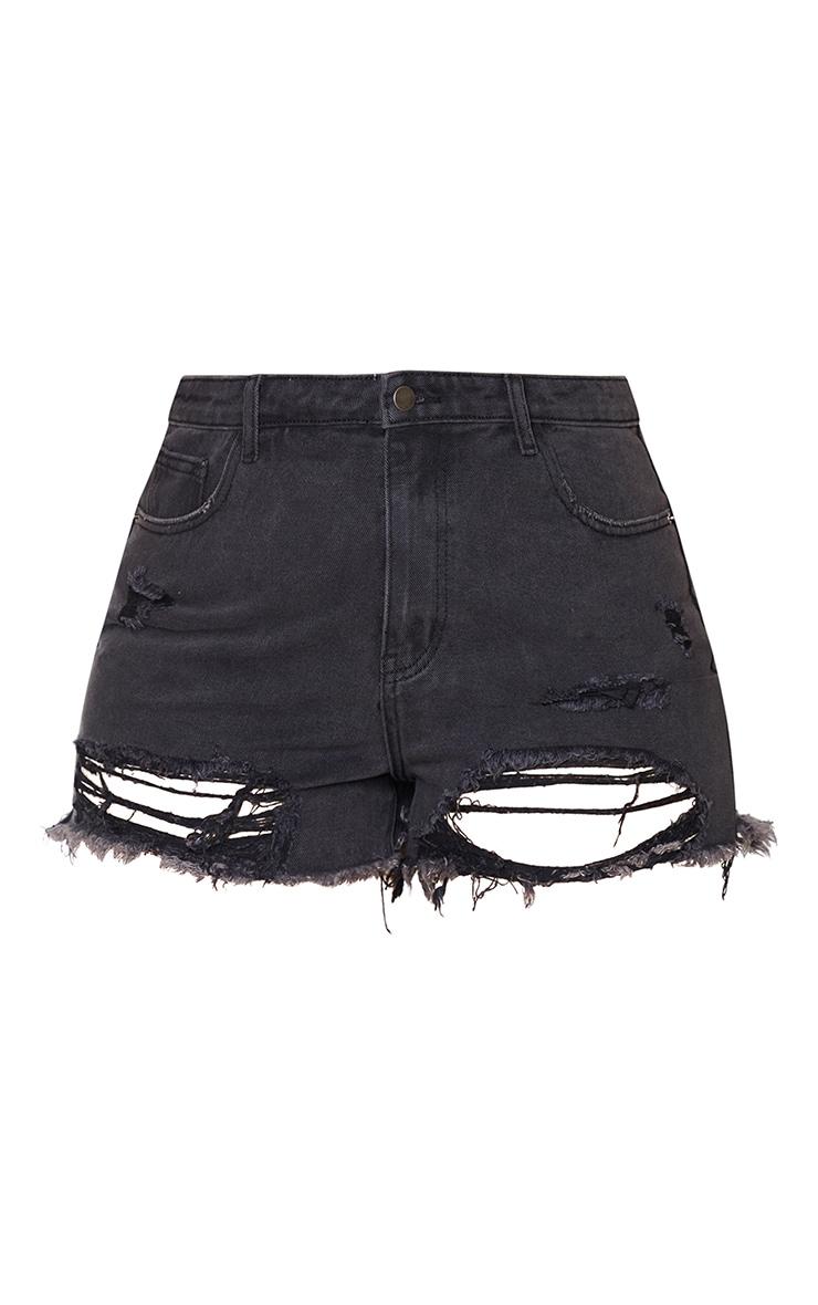 PLT Plus - Short mom déchiré en jean noir 6