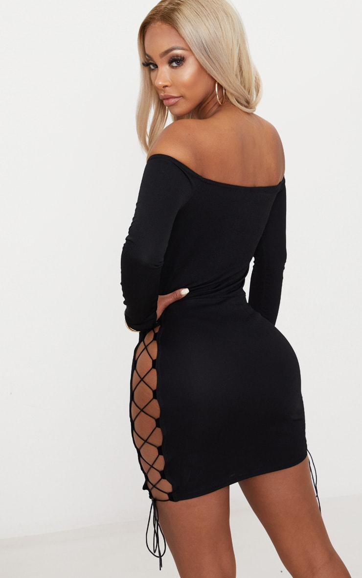 Shape Black Lace Up Detail Bardot Bodycon Dress 2