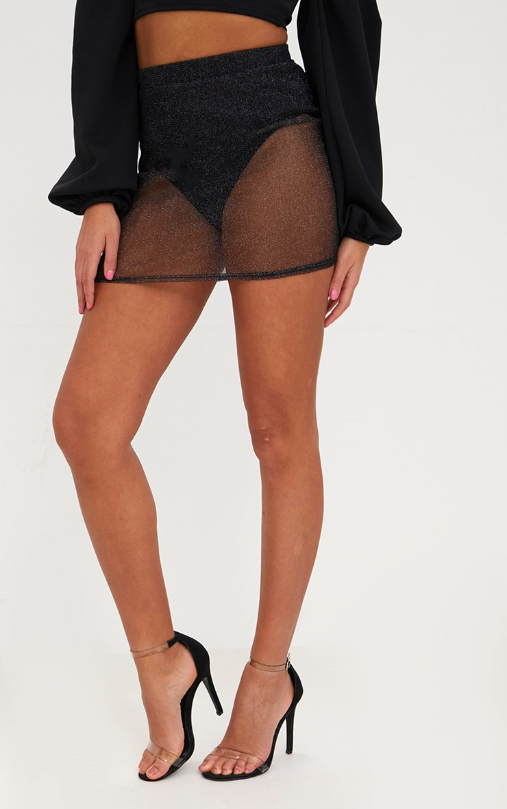 Black Metallic Mesh Mini Skirt 2