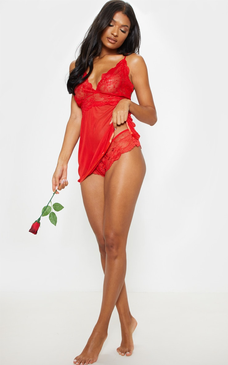 Red Sheer Lace Babydoll Set 4