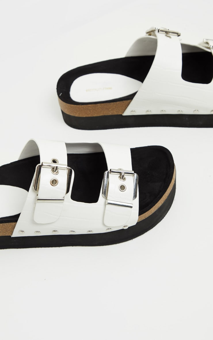 White Flatform Studded Double Buckle Mule Slider 4