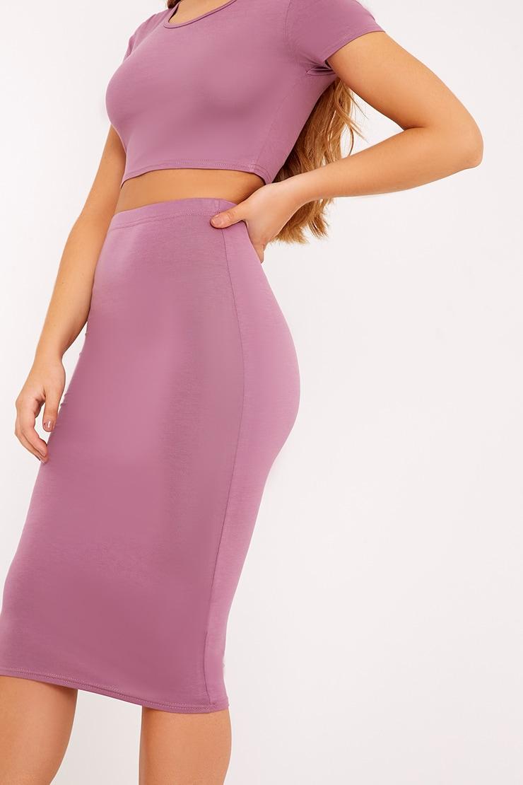 Anaceila Mauve Jersey Top & Midi Skirt Set 5