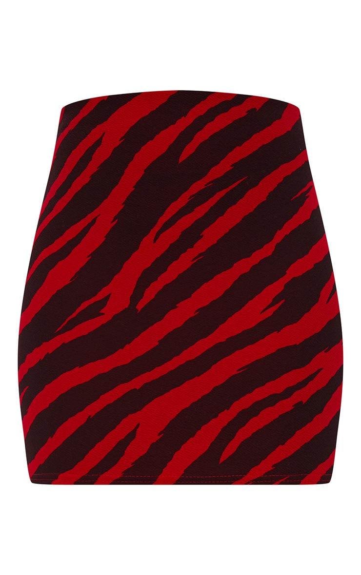 Red Zebra Print Mini Skirt  3