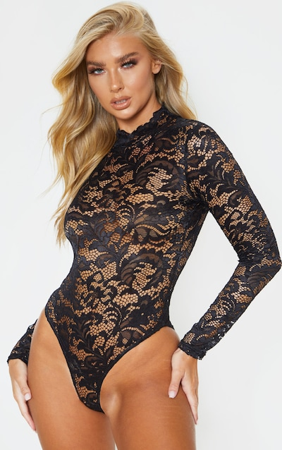 Black Sheer Lace Scallop Detail Bodysuit