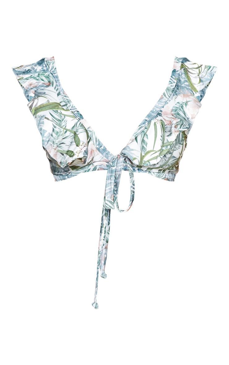 PLT Plus - Haut de bikini volanté kaki clair imprimé feuilles à nouer devant  3