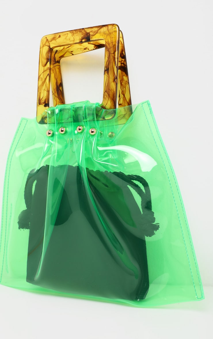 Lime Transparent Flat Tote Resin Handle Grab Bag 4