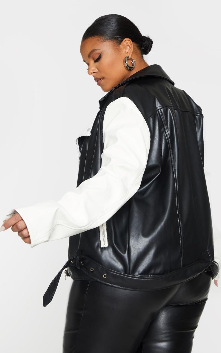Plus Black Faux Leather Contrast Belted Biker Jacket 2