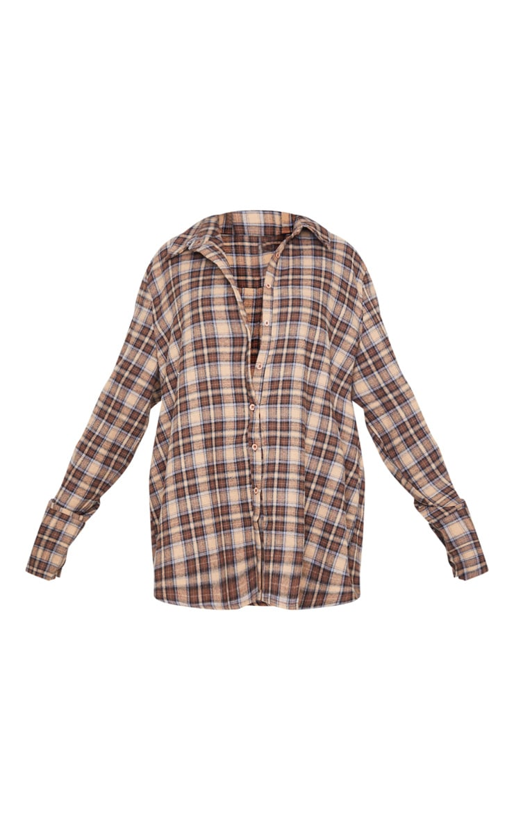 Brown Checked Oversized Shirt 3