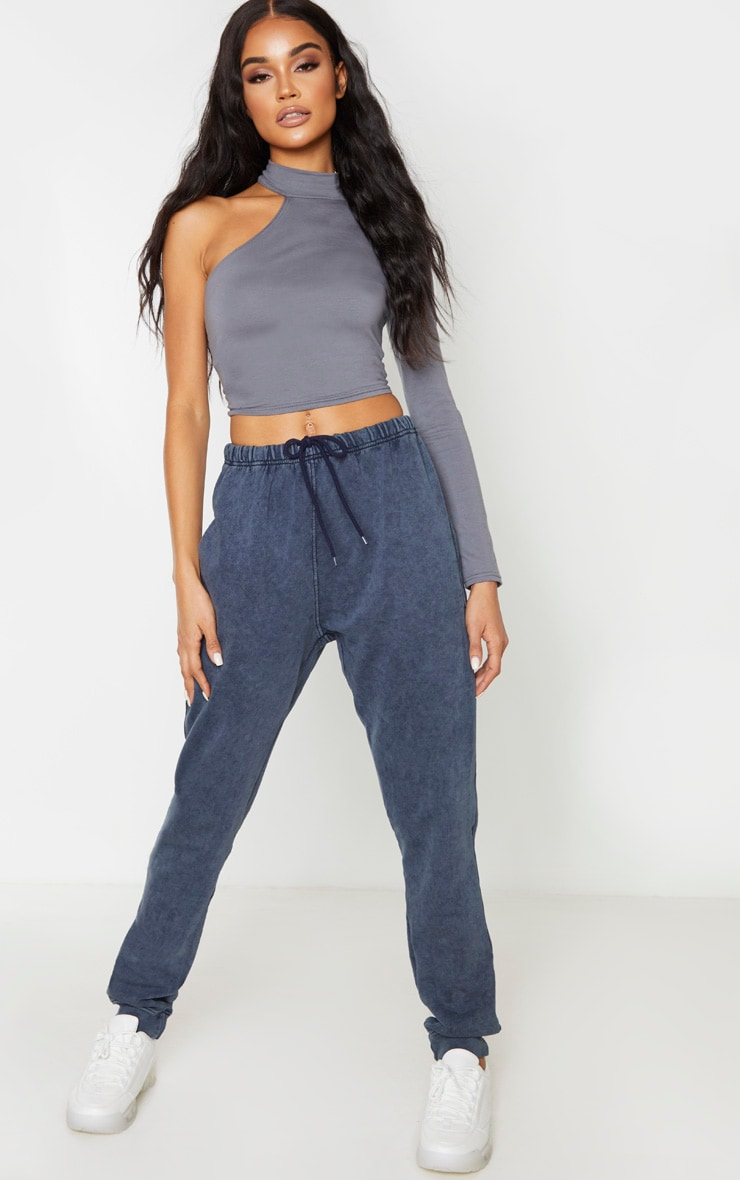 Charcoal Grey High Neck Cotton Cut Out Crop Top 5