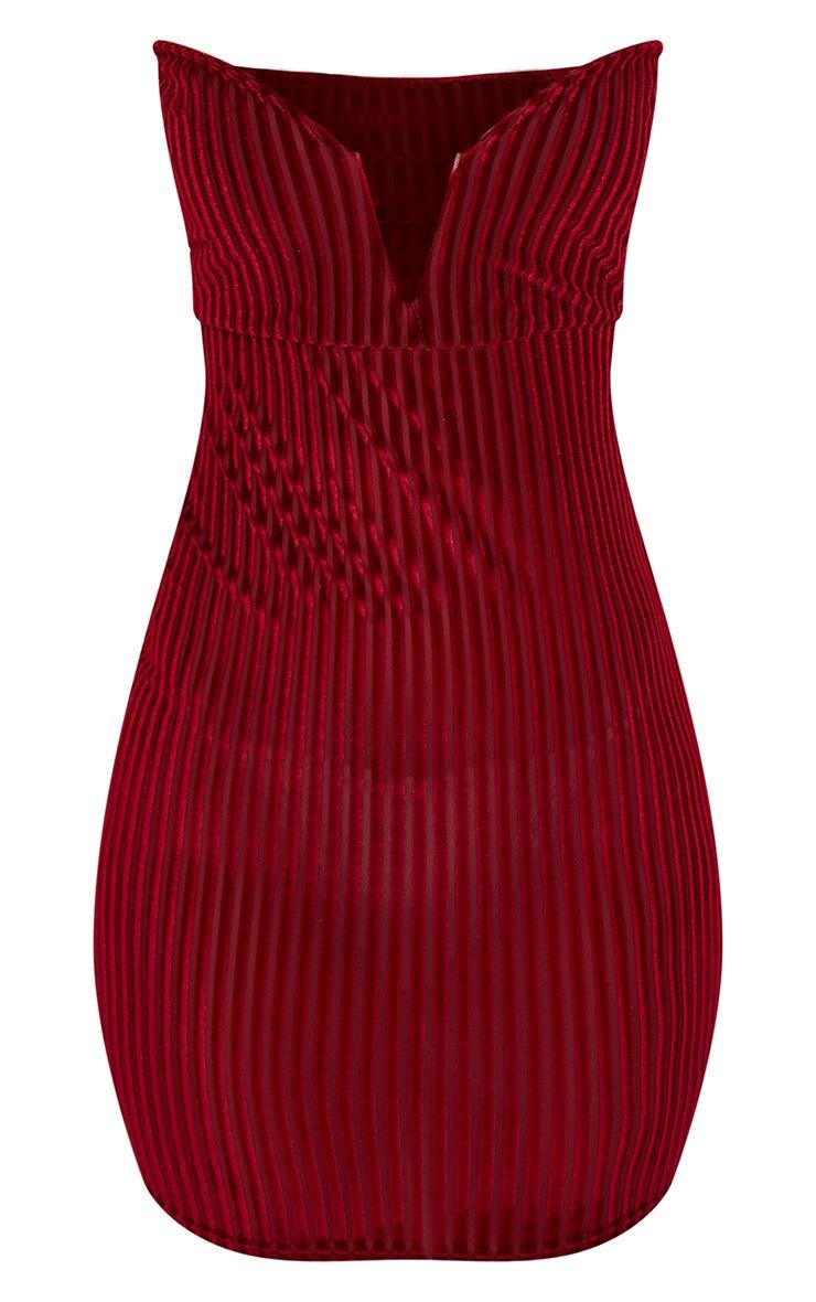 Burgundy Velvet Stripe Bandeau V Plunge Bodycon Dress 3