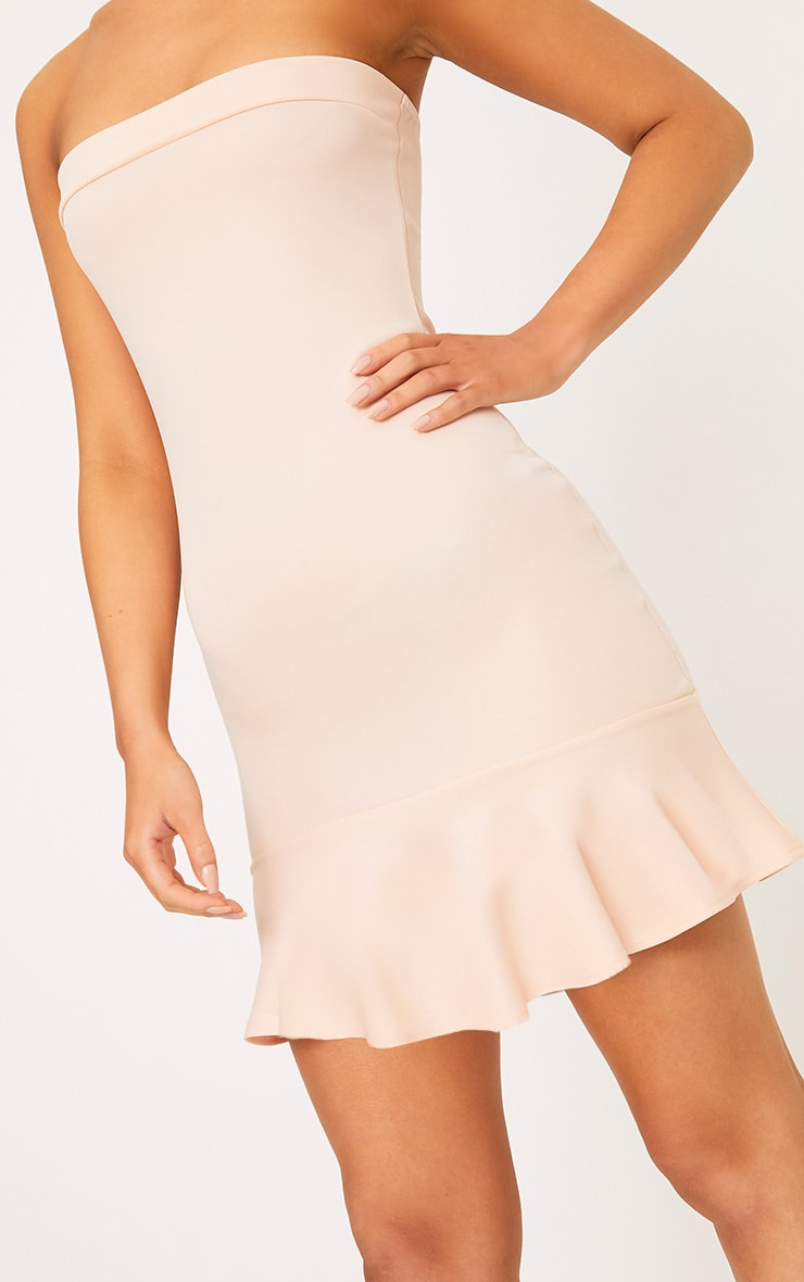 Amallia Nude Bandeau Frill Hem Bodycon Dress 5