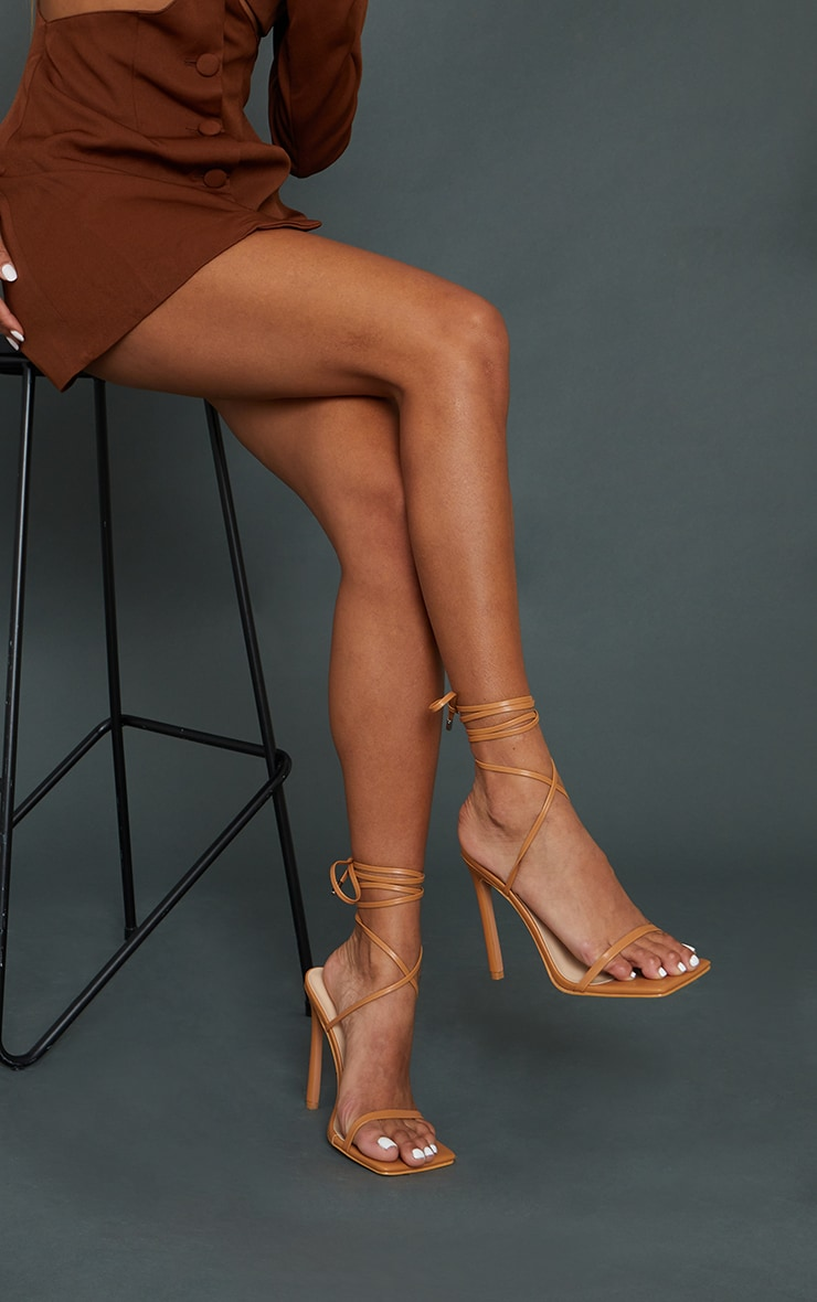 Tan Square Toe Barely There Heeled Sandals 1