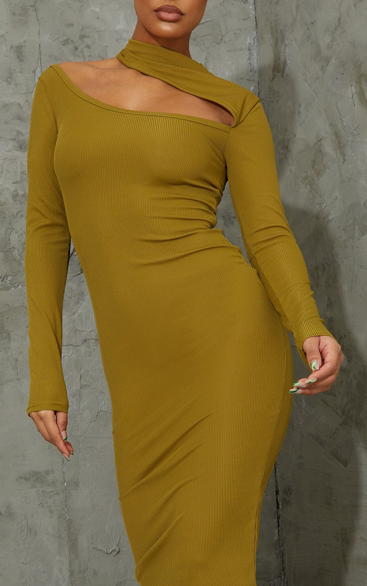 Olive Ribbed High Neck Cut Out Detail Long Sleeve Midi Dress 4