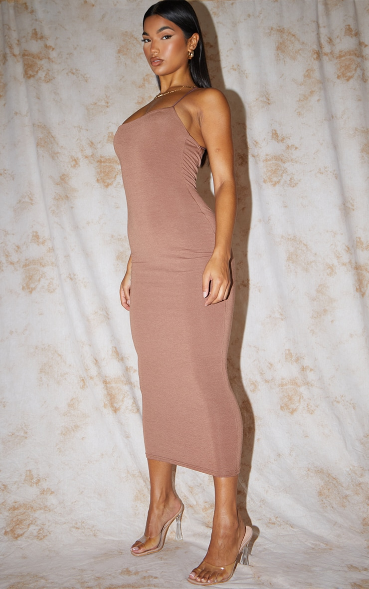 Recycled Chocolate Contour Jersey Strappy Cross Back Midaxi Dress 3