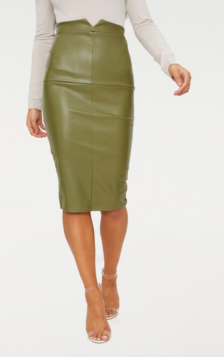 Khaki Faux Leather Panel Midi Skirt  2