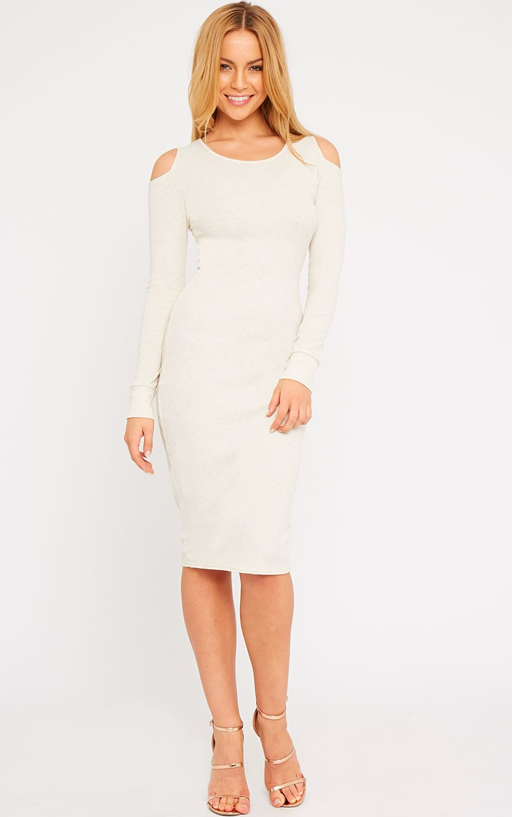 Signe Stone Ribbed Cut Out Shoulder Midi Dress 3