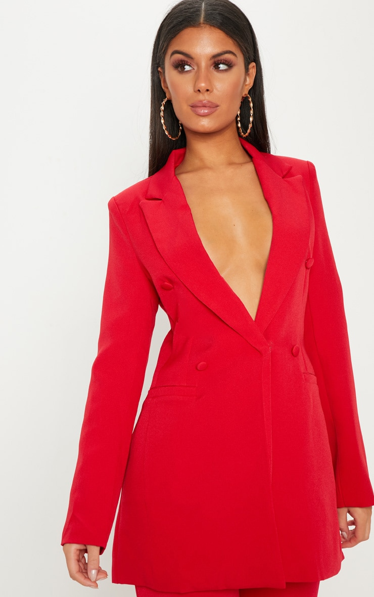 Red Double Breasted Woven Blazer 2
