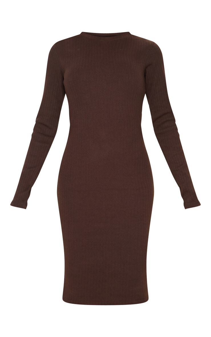 Tall Chocolate Brown Knitted Long Sleeve Midi Dress 3